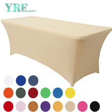 "Rectangular Stretch Spandex Table Cover Beige 8ft/96""L x 30""W x 30""H Polyester For Party"