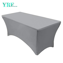 Oblong Fitted Spandex Tablecloths Silver 6ft Pure Polyester Wrinkle Free For Folding Tables