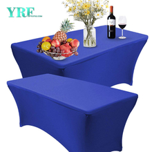 Rectangular Fitted Spandex Table Cover Royal Blue 8ft Pure Polyester Wrinkle Free For Folding Tables
