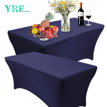 Rectangular Fitted Spandex Table Cover Navy Blue 6ft Pure Polyester Wrinkle Free For Party