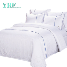 White 100% Cotton Embroidery Logo 3PCS Hotel Style Bedding For Resort
