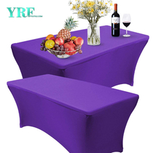 Rectangular Fitted Spandex Tablecloth Purple 4ft Pure Polyester Wrinkle Free For Hotel