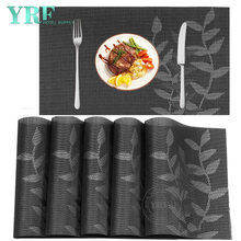 Party Oblong Hardboard Non-fading Resistant Anti-Skid Gray leaf Placemats