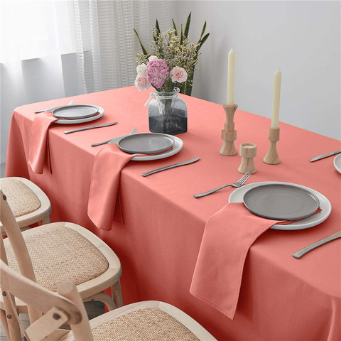 Rectangle Table Cloth Pure Coral 90x156 inch 100% Polyester Wrinkle Free for Hotel