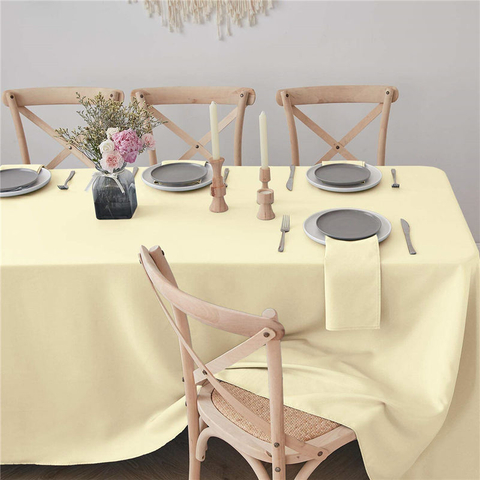 Rectangle Table Cloth Light Yellow 90x156 inch Pure 100% Polyester Wrinkle Free for Parties