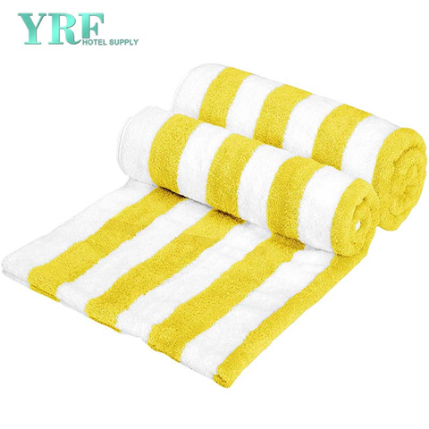 China Wholesale Stripe Beach Towels Cotton Yellow Large Pool Towels