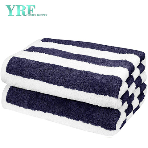 Luxury Hotel Striped 100% Egyptian Cotton Navy Large Blue Beach Towels