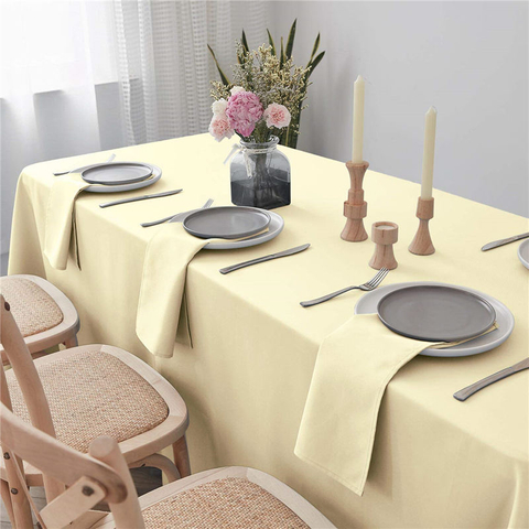 Rectangle Table Cloth Light Yellow 90x132 inch Pure 100% Polyester Wrinkle Free for Parties