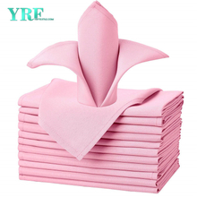 "Napkins Cloths Pure Pink 17x17"" Inch Pure 100% Polyester Washable and Reusable For Weddings"