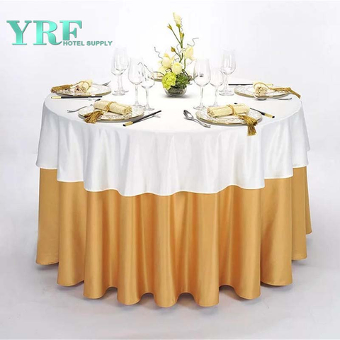 YRF Factory Supply Hotel Round Table Cloth Yellow Plain