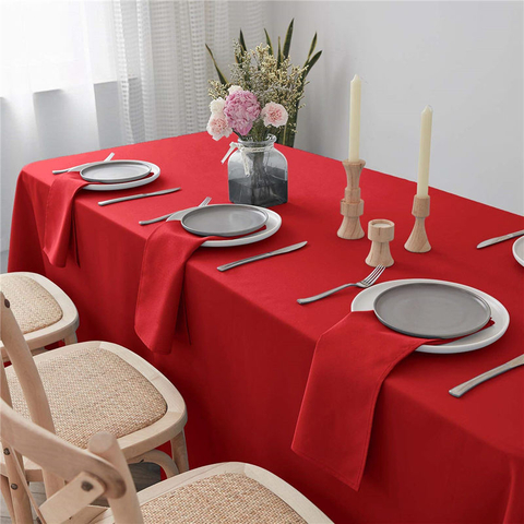 Rectangle Dinner Table Cover Pure Red 90x156 inch 100% Polyester Wrinkle Free for Restaurant
