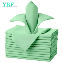 "Dinner Napkin Light Green 17x17"" Inch Pure 100% Polyester Washable and Reusable for Parties"