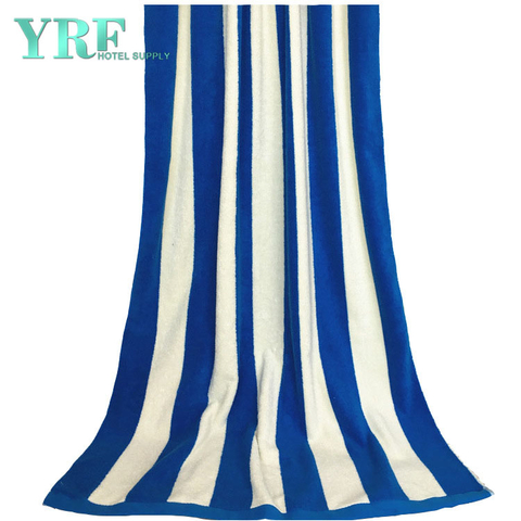 Seaside Resort Swimming Pool Cotton Soft Thick Blue And White Striped Beach Towel