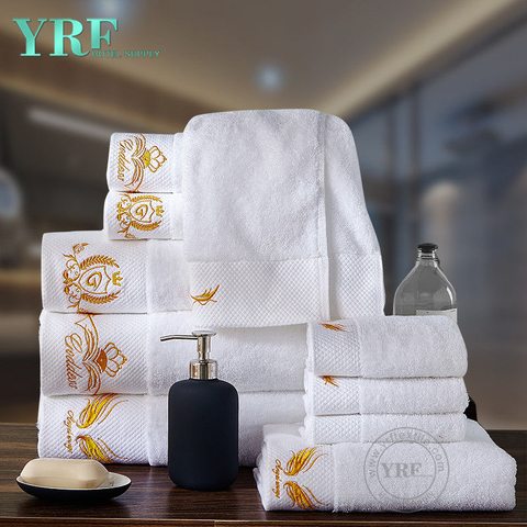 100% Cotton Super White Color Boutique Hotel Towels with Embroidery Logo