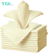 "Napkins Cloth Light Yellow 17x17"" Inch Pure 100% Polyester Washable and Reusable for Parties"