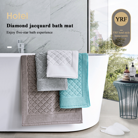 Hotel Bath Mats White Thick 20 x 31 Inch Non-Slip Absorbent 100% China Cotton