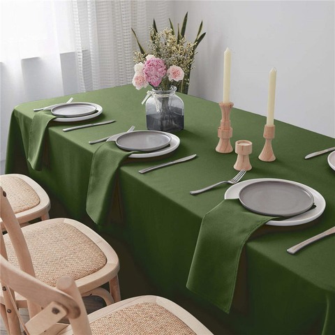 Rectangle Dinner Table Cover Pure Olive 90x132 inch 100% Polyester Wrinkle Free for Restaurant