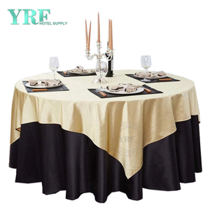 "YRF Round Tablecloth 120"" Inch Gold Polyester Washable Wrinkle Free For Wedding"