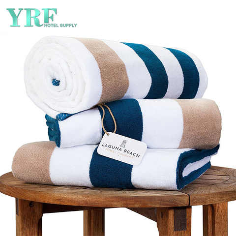 Hotel Full Cotton Strips Blue and White Swimming Towe Increase Soft Thick Beach Towel