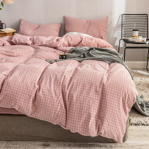3 PCS Single Bed Modern Style Cotton Bed Sheet Pink Plaid