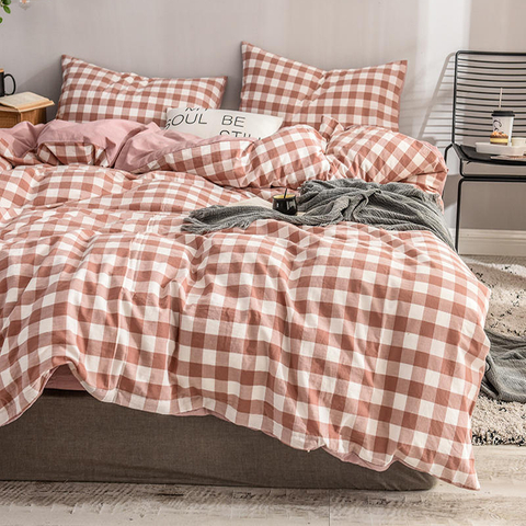 Home Textile Luxury Smooth Simple Style Cotton Fabric Bedding Plaid