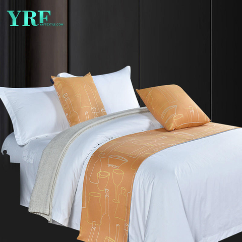 High-end Guest Room Simple linen Printing Design Sandy Brown Decoration Bed Flags