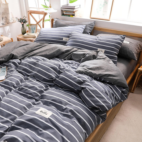 Wholesale 4 PCS King Bed Cotton Fabric Bedding Set Striped