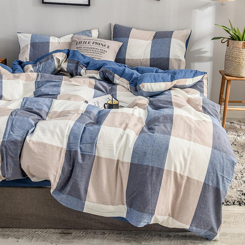Home Bedding Cotton Bed Sheet Set Simple Style Wholesale Plaid