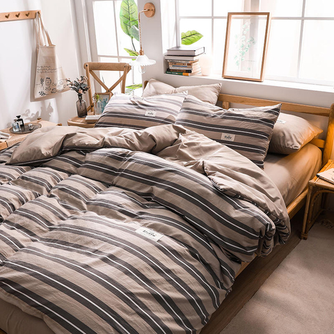 Hot Sale Khaki and Gray Striped Simple Style Cotton Bedding