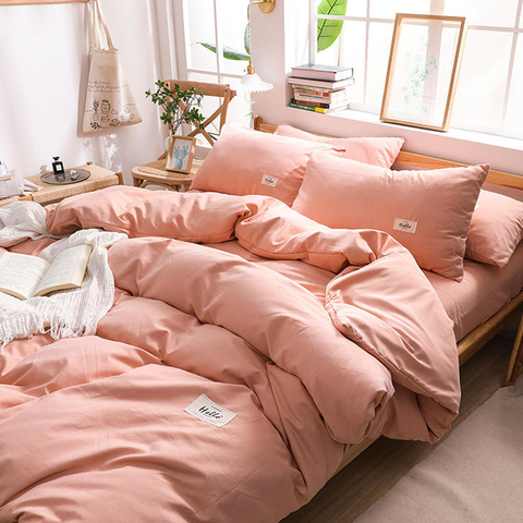 Simple Style Student Dorm Pink matching Cotton Fabric Bed Sheet