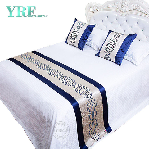 Hotel Bedroom Simple Bright Silk Decorate Silver Blue Bed Flags