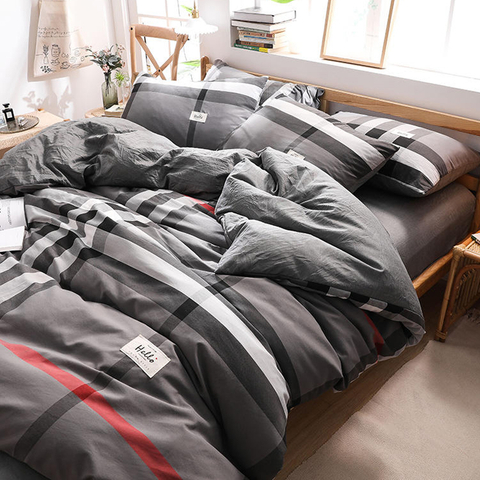 Hot Sale Cottage Dark Gray Gingham Simple Style Cotton Bedding